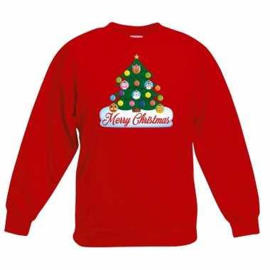 Goedkope kersttrui met dieren kerstboom rood kinderen