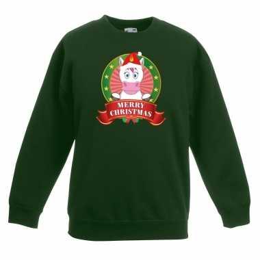 Goedkope kersttrui met een eenhoorn groen jongens en meisjes