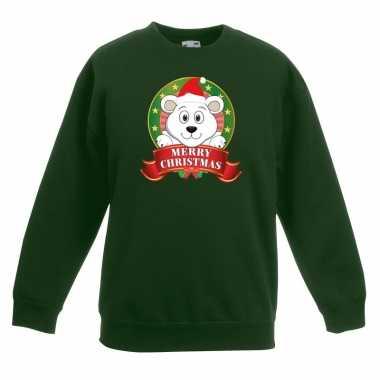 Goedkope kersttrui met een ijsbeer groen jongens en meisjes