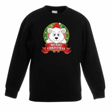 Goedkope kersttrui met een ijsbeer zwart jongens en meisjes