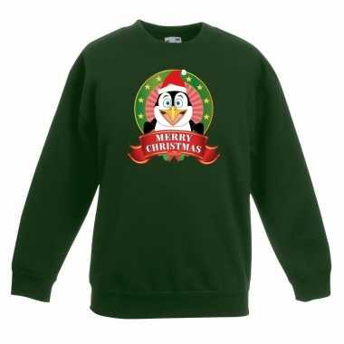 Goedkope kersttrui met een pinguin groen jongens en meisjes