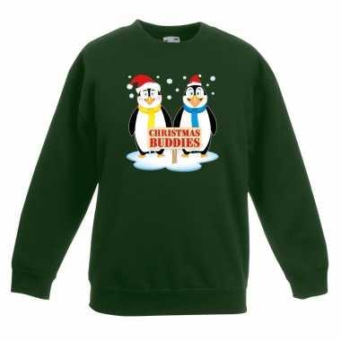 Goedkope kersttrui met pinguin vriendjes groen kinderen