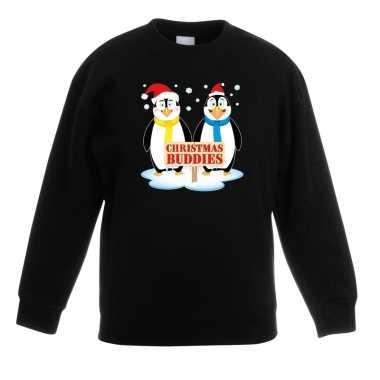 Goedkope kersttrui met pinguin vriendjes zwart kinderen