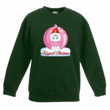 Goedkope kersttrui met roze eenhoorn kerstbal groen voor meisjes