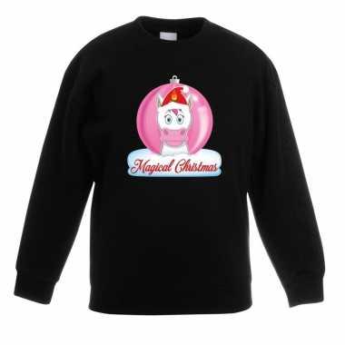 Goedkope kersttrui met roze eenhoorn kerstbal zwart voor meisjes