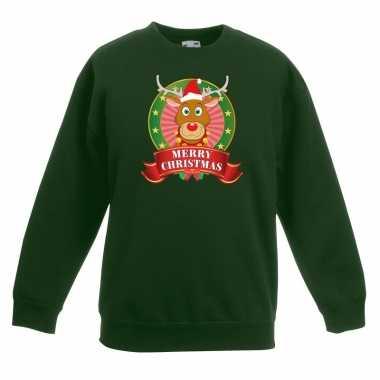 Goedkope kersttrui met rudolf het rendier groen jongens en meisjes