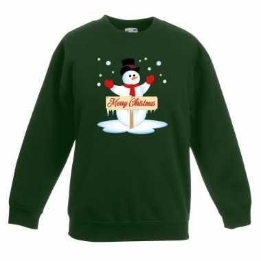 Goedkope kersttrui met sneeuwpop groen kinderen