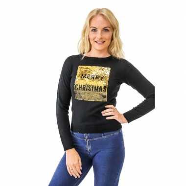 Goedkope kersttrui pailletten dames merry christmas/happy new year