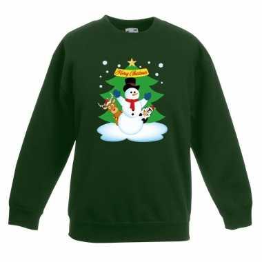 Goedkope kersttrui sneeuwpop en vriendjes groen kinderen