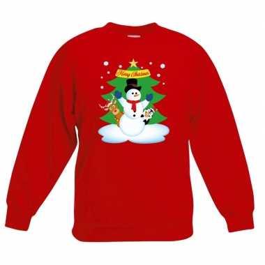 Goedkope kersttrui sneeuwpop en vriendjes rood kinderen
