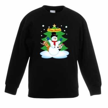 Goedkope kersttrui sneeuwpop en vriendjes zwart kinderen