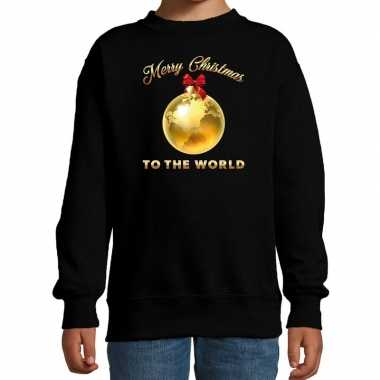 Goedkope kersttrui / sweater merry christmas to the world zwart kinderen