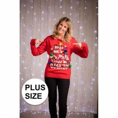 Goedkope plus size foute kersttrui met verlichting voor dames