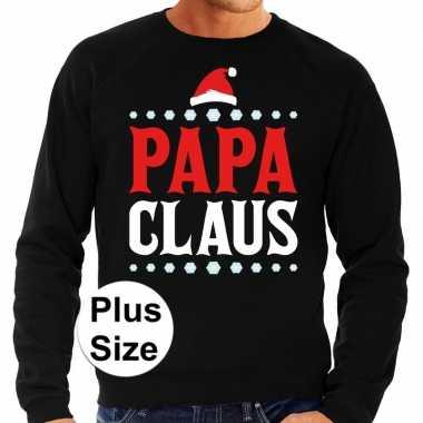 Goedkope plus size zwarte foute kersttrui / sweater papa claus voor heren