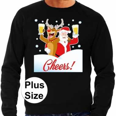 Goedkope plus size zwarte foute kersttrui / sweater proostende kerstman/rendier voor heren