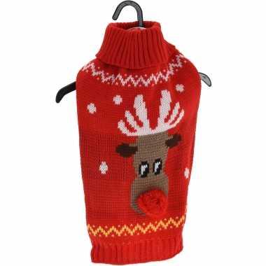 Goedkope rode gebreide foute kersttrui met rendier voor huisdieren