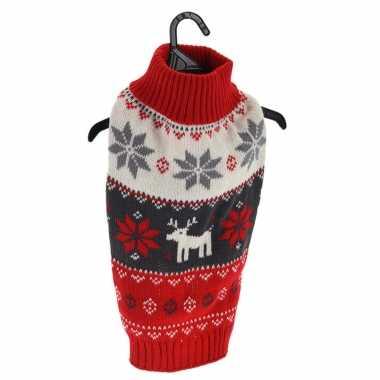 Goedkope rode gebreide foute kersttrui met sneeuwvlokken en rendieren voor huisdieren