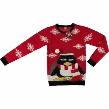 Goedkope rode kerstmis trui coole pinguin voor volwassenen