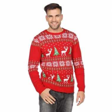 Goedkope rode trui voor kerst met rendieren