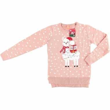 Goedkope roze kerstmis trui lama/alpaca voor dames