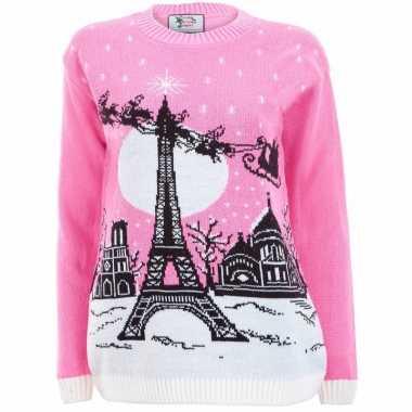 Goedkope roze kerstmis trui paris voor vrouwen