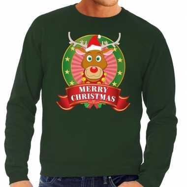 Goedkope rudolf kersttrui groen merry christmas voor heren