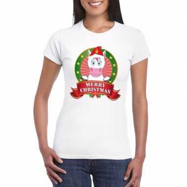 Goedkope witte eenhoorn kerst t trui voor dames merry christmas