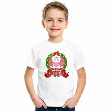 Goedkope witte kerst t trui voor kinderen met eenhoorn
