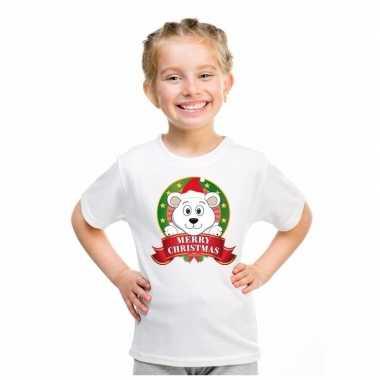 Goedkope witte kerst t trui voor kinderen met ijsbeer