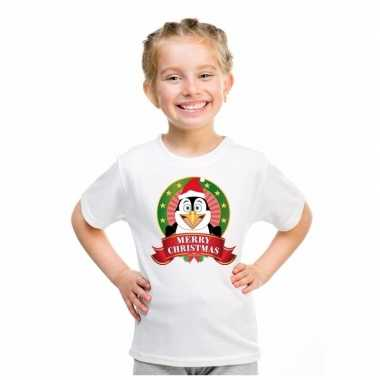 Goedkope witte kerst t trui voor kinderen met pinguin