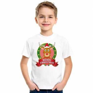 Goedkope witte kerst t trui voor kinderen met rendier