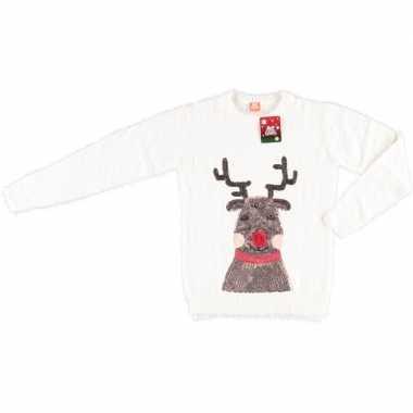 Goedkope witte kerstmis trui rendier voor dames