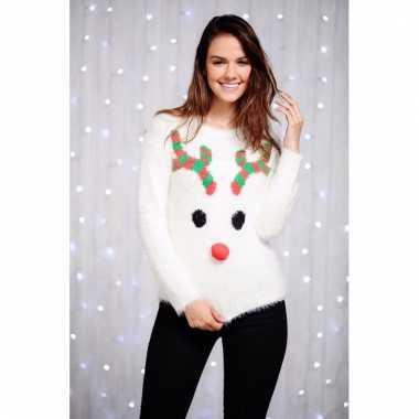 Goedkope witte kersttrui reindier voor dames
