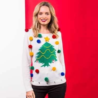 Goedkope witte kindertrui voor kerst met kerstboom