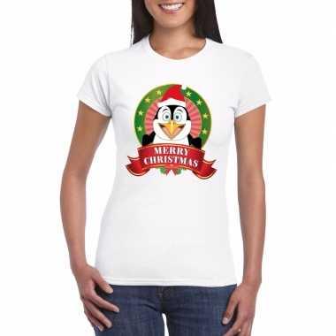 Goedkope witte pinguin kerst t trui voor dames merry christmas