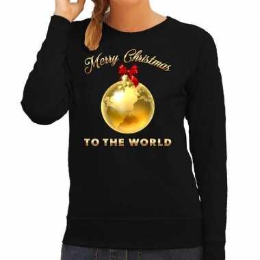 Goedkope zwarte foute kersttrui / sweater merry christmas to the world voor dames