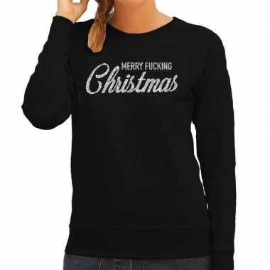 Goedkope zwarte foute kersttrui / sweater merry fucking christmas met zilveren letters voor dames
