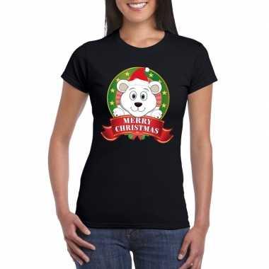 Goedkope zwarte ijsbeer kerst t trui voor dames merry christmas