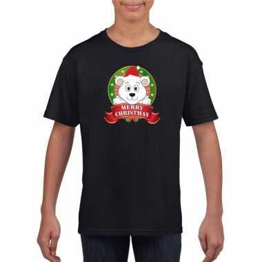 Goedkope zwarte kerst t trui voor kinderen met ijsbeer