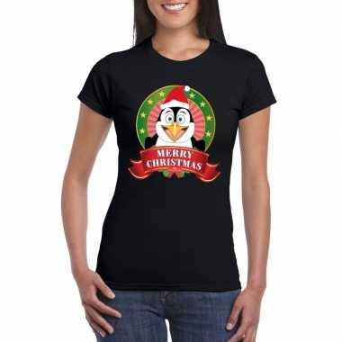 Goedkope zwarte pinguin kerst t trui voor dames merry christmas