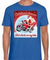 Goedkope blauw fout kersttrui trui christmas dreams hot chicks on my bike voor motorfans voor heren