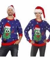Goedkope blauwe trui voor kerst met kerstboom