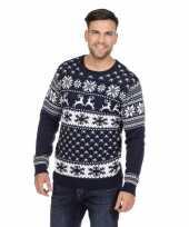 Goedkope donkerblauwe trui voor kerst met rendieren 10128375