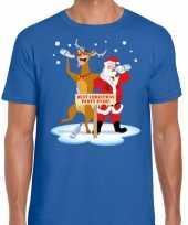 Goedkope foute kerst trui dronken kerstman en rudolf blauw heren