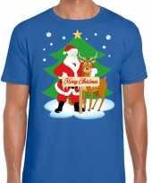 Goedkope foute kerst trui kerstman en rendier rudolf blauw heren