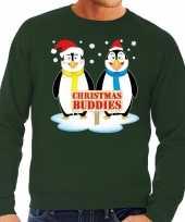 Goedkope foute kersttrui pinguin vriendjes groen heren