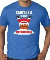 Goedkope grote maten fout kersttrui outfit santa is a big fat motherfucker blauw voor heren