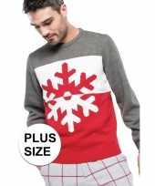 Goedkope grote maten foute rood grijze kersttruien sneeuwvlok print voor heren