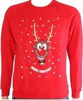 Goedkope kerstmis kinder trui rood met rendier