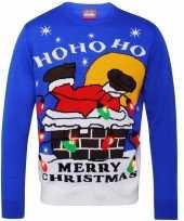 Goedkope kerstmis trui blauw met licht voor dames en heren